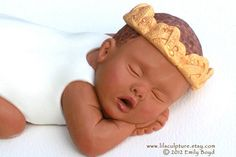 Baby Cake Topper with Gold Crown by Lilsculpture on Etsy, $46.00