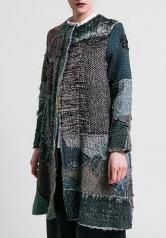 By Walid Gigi Long Coat in Pewter Coats 2018, By Walid, Langer Mantel, Indigo, Wearable Art, African Fashion, Cool Outfits, Textiles, Europe Packing