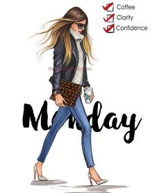 Fashion Drawings Monday Coffee checklist fashion illustration by Rongrong DeVoe - Trendy Fashion, Fashion Art, Girl Fashion, Fashion Design, Fashion Quotes, Fashion Sketches, Fashion Illustrations, Drawing Fashion, Illustration Fashion