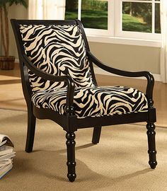 Turned Leg Zebra Print Arm Chair I Like The Idea Of Other Only Being Partly Upholstered