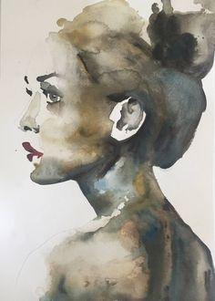 "Saatchi Art Artist Aimee Bramall; Painting, ""Portrait V"" <button class=""Button Module borderless hasText vaseButton"" type=""button""> <span class=""buttonText""> More </span> </button>"