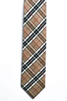Notch Men's Silk Necktie – RIVER – Stripes in black, white and red on beige base  http://www.yourneckties.com/notch-mens-silk-necktie-river-stripes-in-black-white-and-red-on-beige-base/