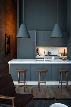 Scandinavian Kitchen Design Interior Of The All White And Beautiful Tiny Kitchen - Home Ideaz Modern Grey Kitchen, Grey Kitchen Designs, Modern Kitchen Interiors, Modern Kitchen Design, Home Decor Kitchen, Interior Design Kitchen, Decorating Kitchen, Grey Kitchens, Kitchen Lamps