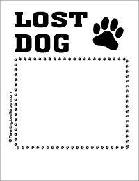 Lost dog printable sign flyer poster template, Parenting.Leehansen.com
