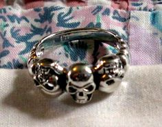 RING TRIPLE  SKULLS  Sterling Silver   925  Size 9 by MOONCHILD111 https://www.etsy.com/shop/MOONCHILD111