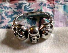 RING TRIPLE  SKULLS  Sterling Silver   925  Size 9 by MOONCHILD111 https://www.etsy.com/shop/MOONCHILD111