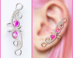 Pink elven EAR CUFF with czech glass crystals, perfect for gift, silver wire original handmade
