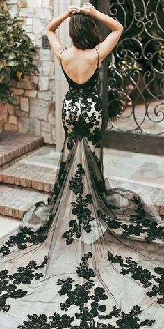 Dark Romance: 27 Gothic Wedding Dresses ❤ gothic wedding dresses mermaid backless with spaghetti straps lace with white casablancabridal ❤ #weddingdresses Black Wedding Dresses, Formal Dresses, Bridal Gowns, Wedding Gowns, Gothic Wedding, Mermaid Dresses, Beautiful Dresses, Backless, Romance