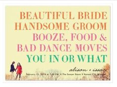 cool wedding party pictures | Cool wedding invitation | Party Ideas :)