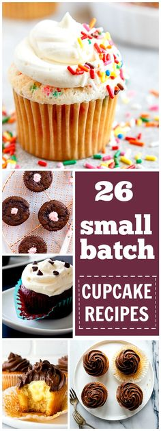 Recipes for a small batch of cupcakes. Each recipe makes 4 or 6 cupcakes only! Tons of options for the chocolate lover or vanilla freak! Small batch baking is the best!