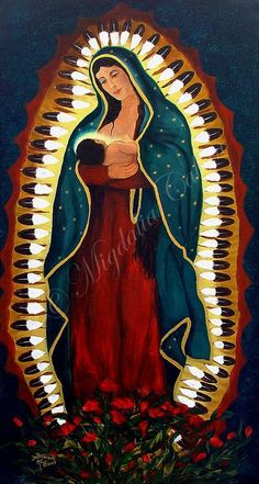 Madonna de la Guadalupe With Child mother by CharismaArtGallery, $1600.00