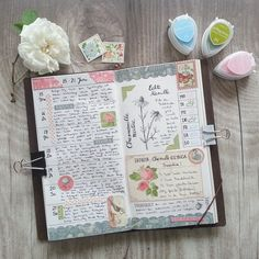 Lovely ~ I'm really liking the traveler's notebook planning & journaling system. Maybe mine will be this pretty someday. Bullet Journal Agenda, Journal Notebook, Journal Pages, Scrapbook Journal, Planner Stickers, Agenda Planning, Scrapbooking, Day Planners, Bullet Journal Inspiration