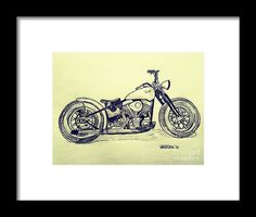 1950 Harley Davidson Panhead Motorcycle Graphite Pencil Sketched Art from the art studio of Scott D Van Osdol available at fineartsamerica.com