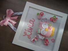 Enfeite de Porta Maternidade ou quadrinho para decorar o quarto no tema Coruja. Feito nas cores e tecidos que desejar.