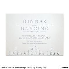 Glam silver art deco vintage wedding reception card