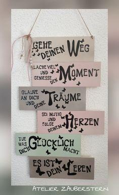 HOLZSCHILDER/HANDARBEIT - atelier-zaubersterns Website! Happpy Birthday, Leo Birthday, Birthday Quotes, German Words, Diy Spa, Hand Art, Kids Cards, Pin Collection, True Quotes