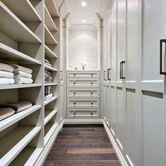 Narrow Walk In Closet, like idea of cupboards one side with sliding doors & shelving hanging space the other