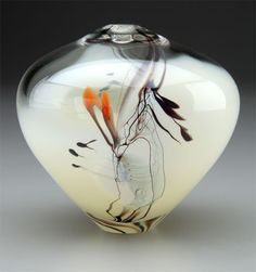 Sharon Fujimoto Hand Blown Glass Vase
