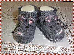 """Strick- & Häkelschuhe - Gestrickte  Baumwolle Babyschuhe  """"Kleine Maus"""" - ein Designerstück von Monalisa11 bei DaWanda"""