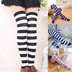 17b1c49669ac0 1.85AUD - Women Girl Striped Stripy Over Knee Rainbow Thigh High Stockings  Long Socks #