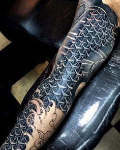 Geometric Mens Pattern 3d Sleeve Tattoo Ideas