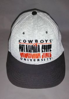 339a0842fd5 90s OKLAHOMA State University Light Grey Jersey Snapback Baseball Cap Hat  Black Orange Cowboys OSU OK Okie Pistols Firing Pistol Pete