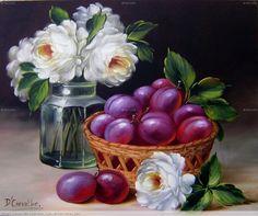 Rosas blancas y ciruelas
