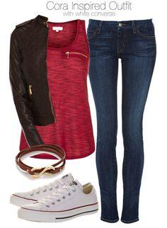 Vest, $13 / MICHAEL Michael Kors brown jacket / Koral jeans, $290 / Converse shoes, $88 / Gorjana bracelet