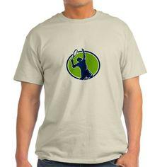 Tennis Player Racquet Serving Oval Retro T-Shirt