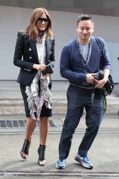 Christine Centenera in a blazer and pencil skirt paired with open-toed booties and a fringed scarf to finish. Sydney Fashion Week #StreetStyle
