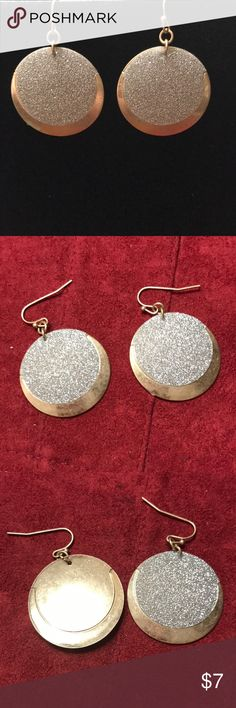 Glitter and gold earrings Silver glitter and gold earrings from Lane Bryant.  3/4 inch round earrings on fish hooks. Lane Bryant Jewelry Earrings