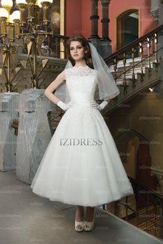 Ball Gown High-neck Tea-length Chiffon wedding dress