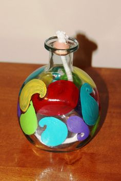 Painted Glass Bottle Oil Lamp by OceanCraft on Etsy