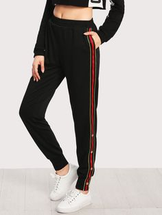 Shop Button And Striped Side Sweatpants online. SheIn offers Button And Striped Side Sweatpants & more to fit your fashionable needs.