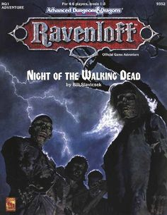 RQ1 Night of the Walking Dead (2e) - Ravenloft | Book cover and interior art for Advanced Dungeons and Dragons 2.0 - Advanced Dungeons & Dragons, D&D, DND, AD&D, ADND, 2nd Edition, 2nd Ed., 2.0, 2E, OSRIC, OSR, d20, fantasy, Roleplaying Game, Role Playing Game, RPG, Wizards of the Coast, WotC, TSR Inc. | Create your own roleplaying game books w/ RPG Bard: www.rpgbard.com | Not Trusty Sword art: click artwork for source