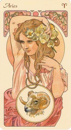 Art Nouveau Aries woman art print. For in depth info on Aries personality & characteristics go to http://www.buildingbeautifulsouls.com/zodiac-signs/western-zodiac/aries-star-sign-traits-personality-characteristics/