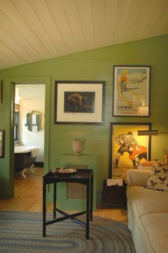 Feature cottage wall colour use for cupboards   traditional home office by Tim Cuppett Architects