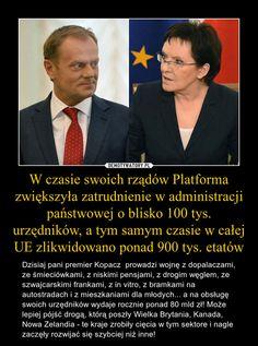 W czasie swoich rządów Platforma zwiększyła zatrudnienie w administracji państwowej o blisko 100 tys. urzędników, a tym samym czasie w całej UE zlikwidowano ponad 900 tys. etatów