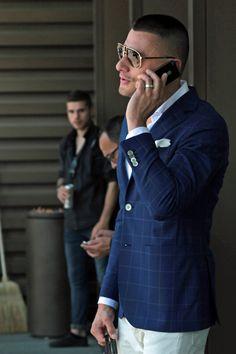 Stylish blue blazer.