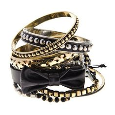 Rock Bangle Pack with Bow (£14) ❤ liked on Polyvore featuring jewelry, bracelets, accessories, pulseiras, acessorios, bangle jewelry, hinged bracelet, bracelets bangle, rock jewelry and bangle bracelet