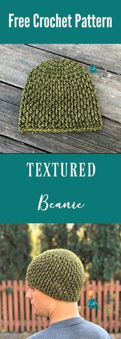 Textured Beanie Free Crochet Pattern – Knitting patterns, knitting designs, knitting for beginners. Mens Crochet Beanie, Crochet Men, Crochet Beanie Pattern, Crochet Gifts, Free Crochet, Irish Crochet, Crochet Beret, Crochet Things, Double Crochet