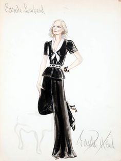 Edith Head sketch for Carole Lombard