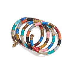 Wear this spiral bracelet with a white flowy blouse to make it pop. It can also be worn with a variety of bright prints for an extra dose of color. (Stitch Fix Sundale Woven Spiral Bracelet)