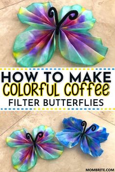 Have lots of coffee filters at home you're about to throw away? Transform them into these gorgeous and colorful Butterfly Craft with your kids using a little science and creativity! Check out the full instructions here to get started. #CoffeeFilterKidsCraft #KidsButterflyCraft #FunMessFreeKidsArtProject