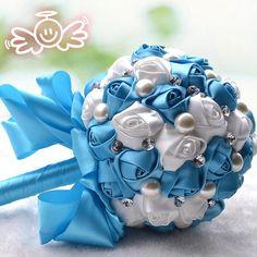 Elegant Rose bouquets Wedding bridal Bouquet Acrylic Crystal Pearls Bouquet Bridesmaid Silk Rose holding flower Wedding Accessories Sly blue