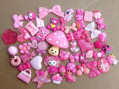 50pc Pink Theme Candy Princess Bow Purse Hearts Skulls Flat Back Resin Cabochons #PepperLonely