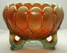 Carnival Glass Rosebowl N Northwood Leaf Beads Plain Int Aqua Opal | eBay