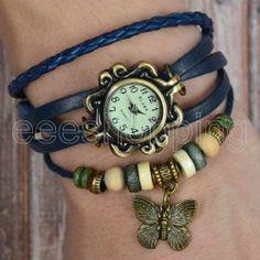 Vintage Leather Wrist Watch Weave Wrap Butterfly Quartz Retro Bracelet Beaded $11.95 #stephaniewein