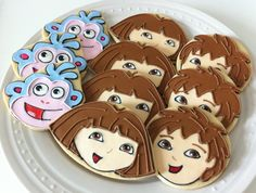 Dora the Explorer Decorated Cookies, with Diego and Boots, perfect favors for your child's party