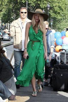 Abito verde con rouches di Serena Van Der Woodsen